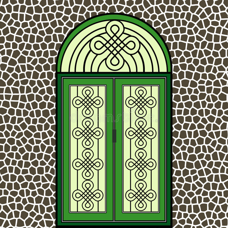 Puerta del verde del hierro labrado ilustración del vector
