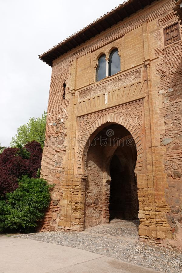 Puerta del Vino of Alhambra in Granada, Andalusia royalty free stock photography