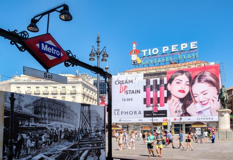 Puerta Del Zol w Madryt centrum hiszpański kapitał zdjęcia stock