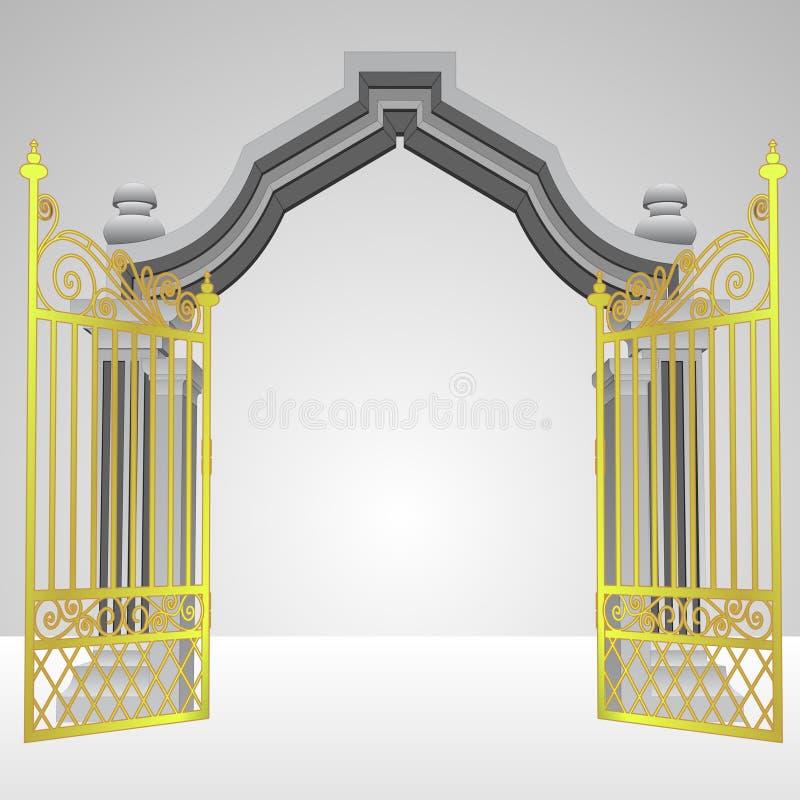 Puerta divina con vector abierto de la cerca del oro ilustración del vector