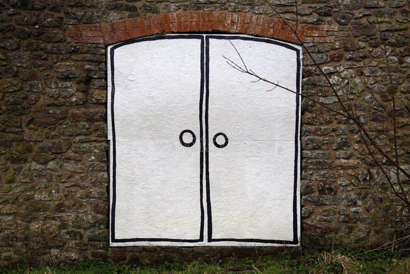 Puerta doble pintada de la historieta stock de ilustración
