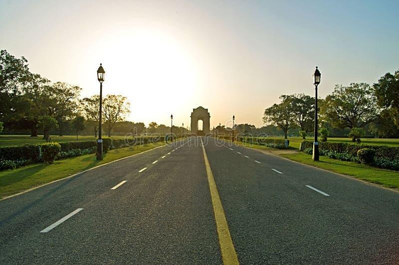 Puerta en puesta del sol, Delhi de la India imágenes de archivo libres de regalías
