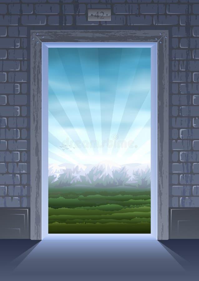 Puerta en verano ilustración del vector