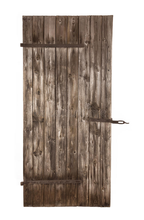 Puerta estable rústica de madera vieja aislada foto de archivo