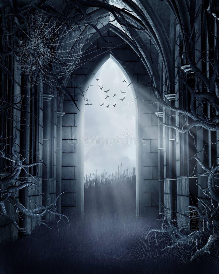 Puerta fantasmagórica con las telarañas stock de ilustración