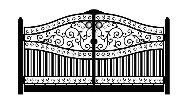 Puerta forjada Detalle de la configuración Puerta forjada negra del hierro con el enrejado decorativo aislado en el fondo blanco  libre illustration