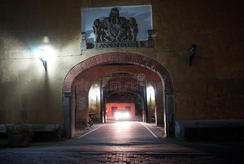 Puerta grande en la noche fotos de archivo libres de regalías
