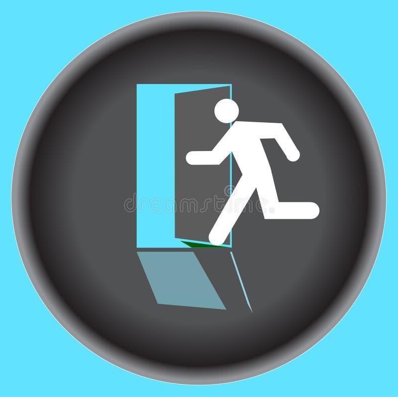 Puerta gris redonda de la salida de la muestra de la silueta humana hacia fuera aislada en fondo azul ilustración del vector