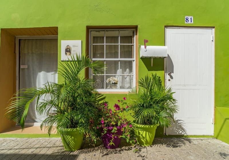 Puerta - grren las opiniones de Otrobanda Curaçao fotos de archivo