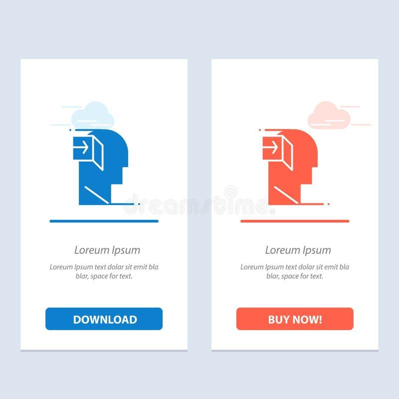 Puerta, humano, interno, mente, transferencia directa azul y roja importada y ahora comprar la plantilla de la tarjeta del aparat stock de ilustración