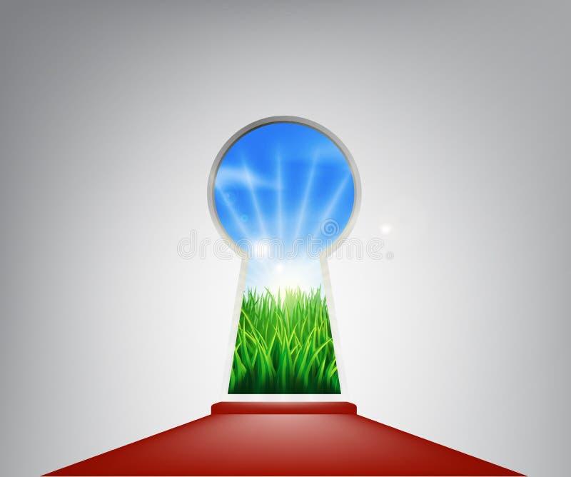 Puerta idílica del ojo de la cerradura del paisaje de la alfombra roja libre illustration
