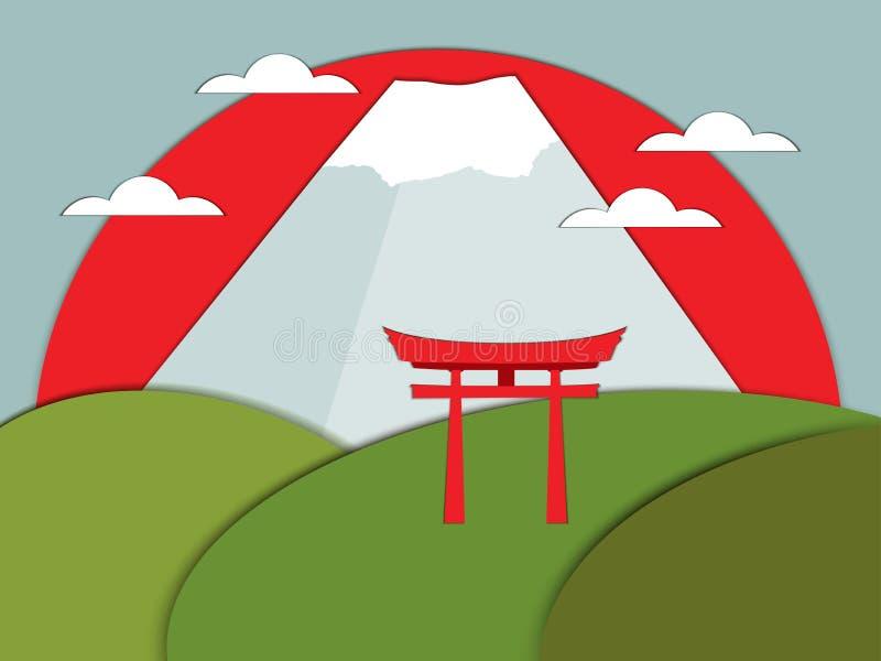Puerta japonesa en un fondo de montañas Vector libre illustration
