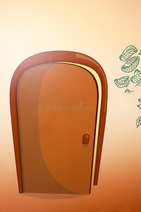 Puerta marrón abierta pintada en estilo de la historieta Cierre para arriba fotos de archivo libres de regalías