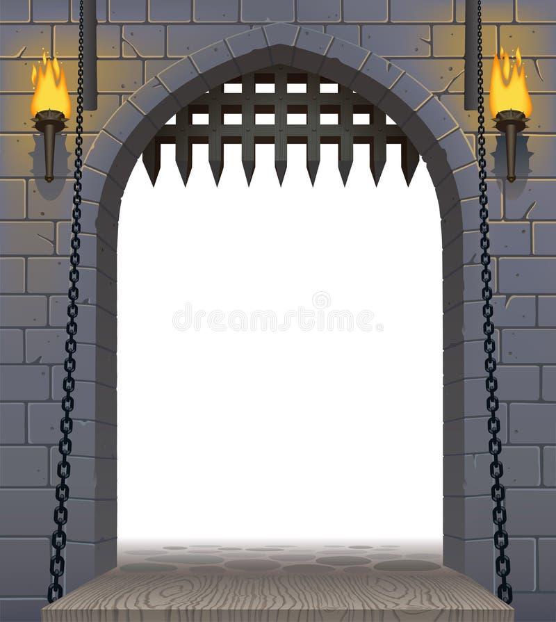 Puerta medieval del castillo con un puente levadizo y antorchas con un blanco stock de ilustración