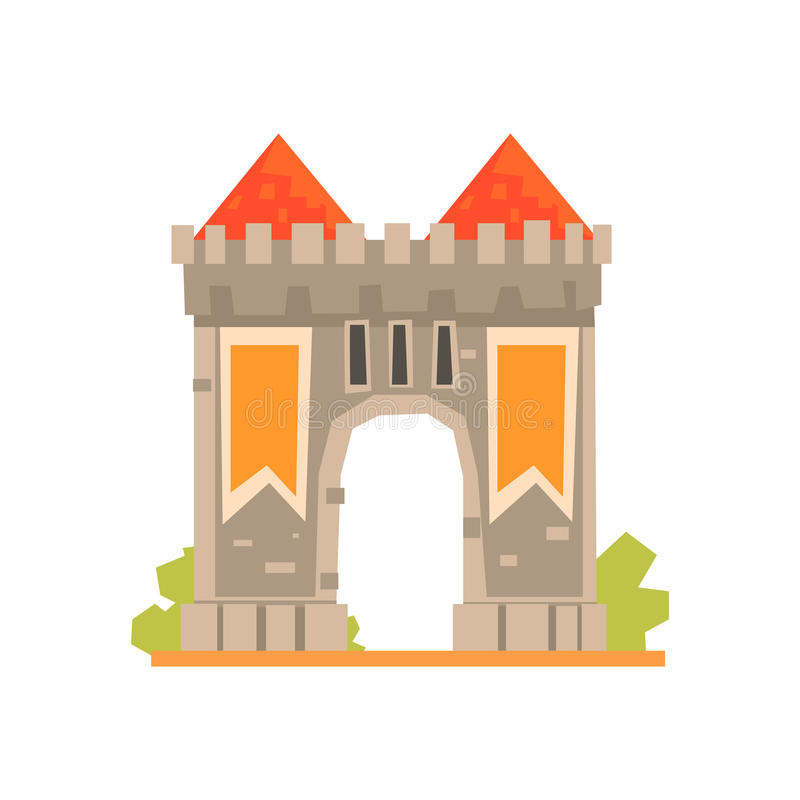 Puerta medieval y dos torres de guardia, ejemplo antiguo del vector del edificio de la arquitectura stock de ilustración