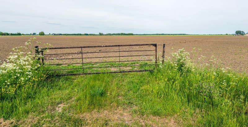Puerta oxidada torcida delante de un campo arado foto de archivo