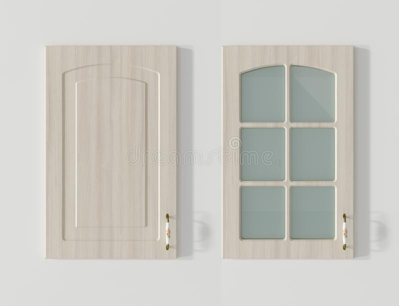Puerta para la representación de madera blanca 3D de los armarios de cocina libre illustration
