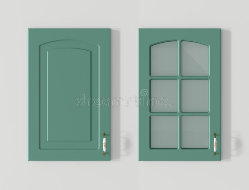 Puerta para la representación del verde 3D del país de los armarios de cocina stock de ilustración