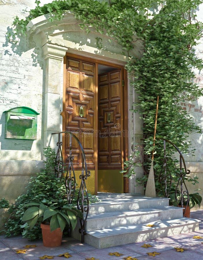 Puerta principal clásica de la casa con las escaleras. fotos de archivo