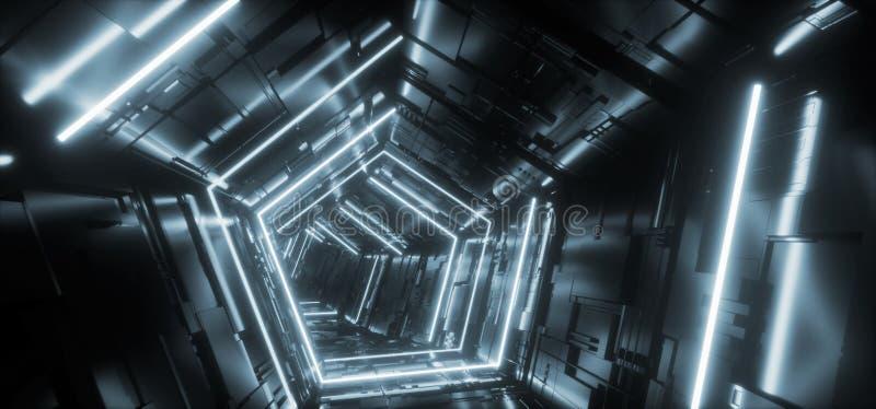 Puerta reflexiva del túnel del pasillo del metal del triángulo de la nave espacial extranjera detallada pentagonal híper azul cla stock de ilustración