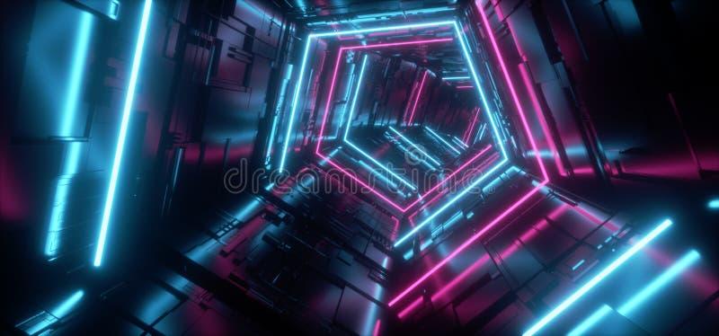 Puerta reflexiva del túnel del pasillo del metal del triángulo de la nave espacial extranjera futurista detallada pentagonal hípe stock de ilustración