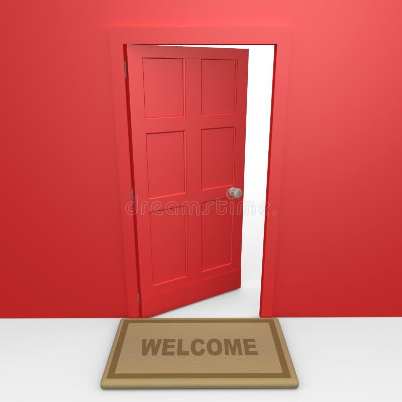 Puerta roja ilustración del vector