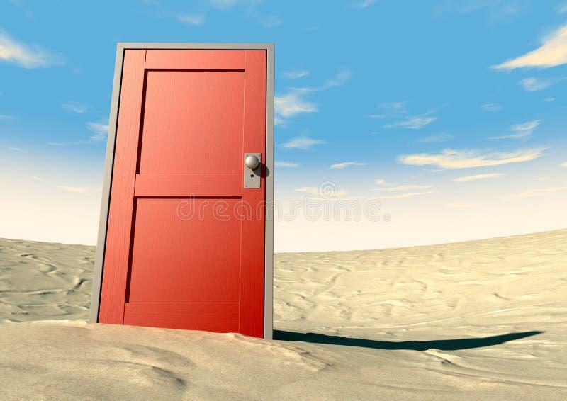 Puerta roja cerrada en un desierto stock de ilustración