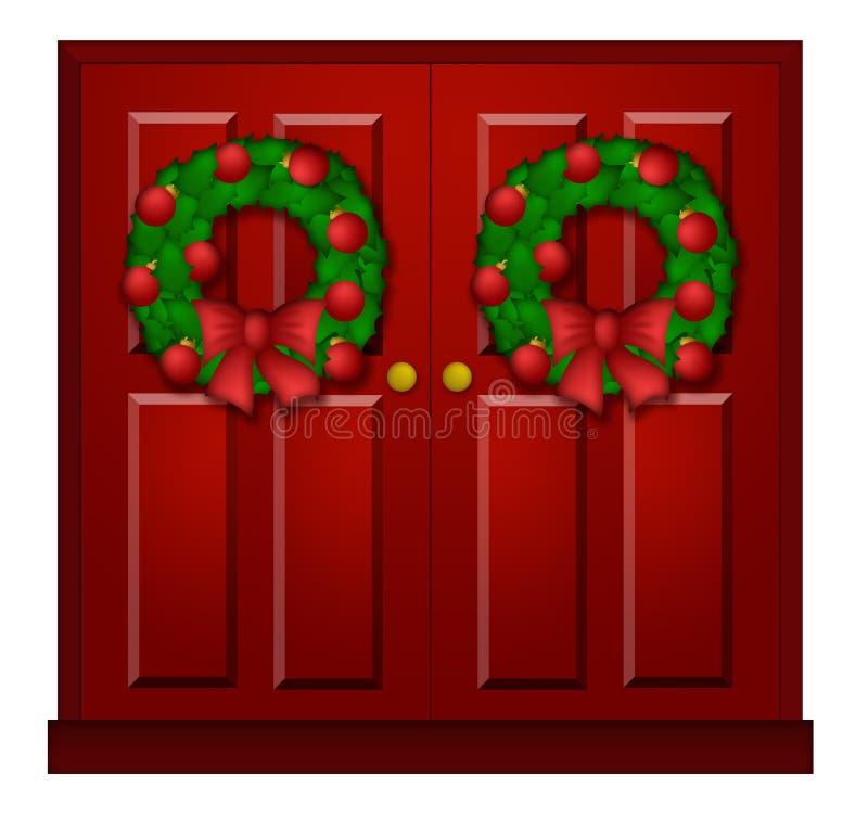 Puerta roja con la ilustración de la guirnalda de la Navidad libre illustration