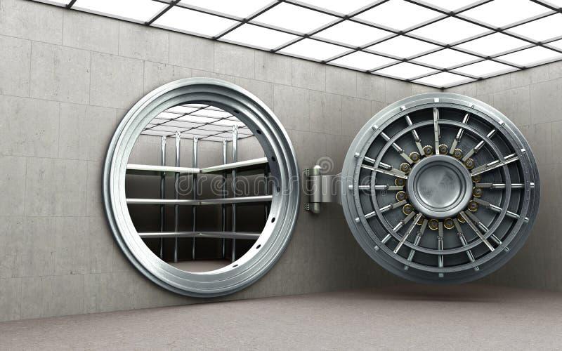 Puerta segura grande con la imagen de alta resolución 3D de los lingotes vacíos stock de ilustración