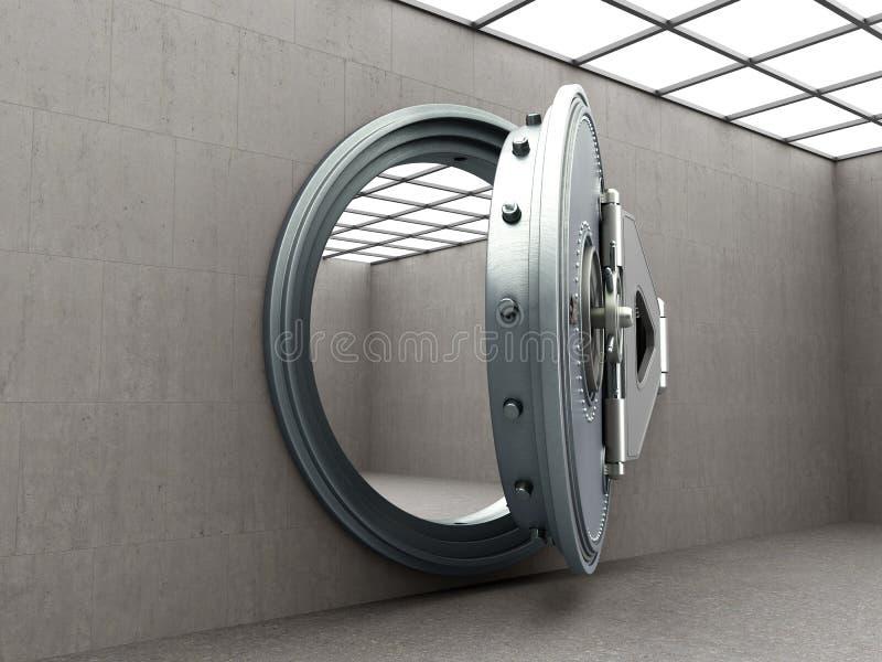 Puerta segura grande con la imagen de alta resolución 3D de los lingotes vacíos ilustración del vector