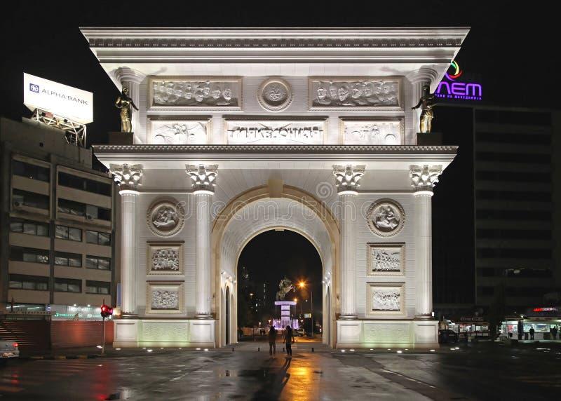 Puerta Skopje de Macedonia imagenes de archivo