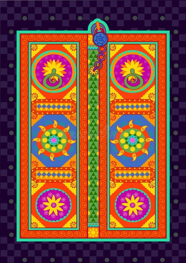 Puerta tradicional en estilo indio del arte libre illustration