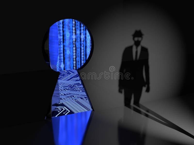 Puerta trasera inminente de la silueta del pirata informático de un sistema informático stock de ilustración