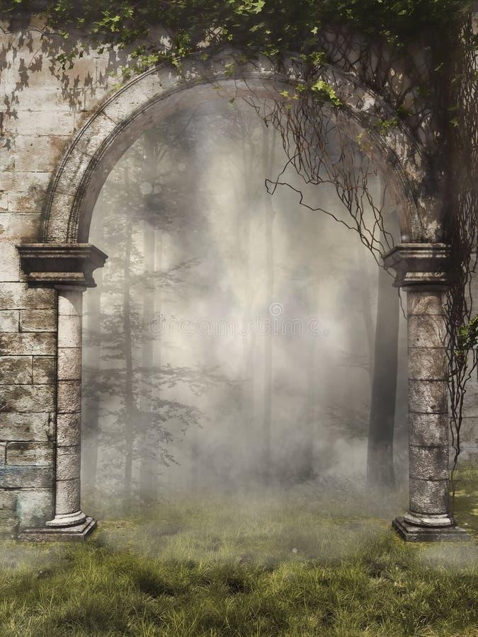 Puerta a un bosque de niebla stock de ilustración