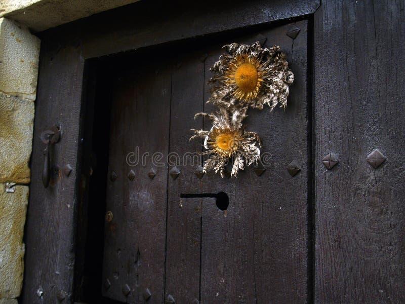 Puerta vasca vieja en madera negra con el ` de Eguzkilore del ` imagen de archivo