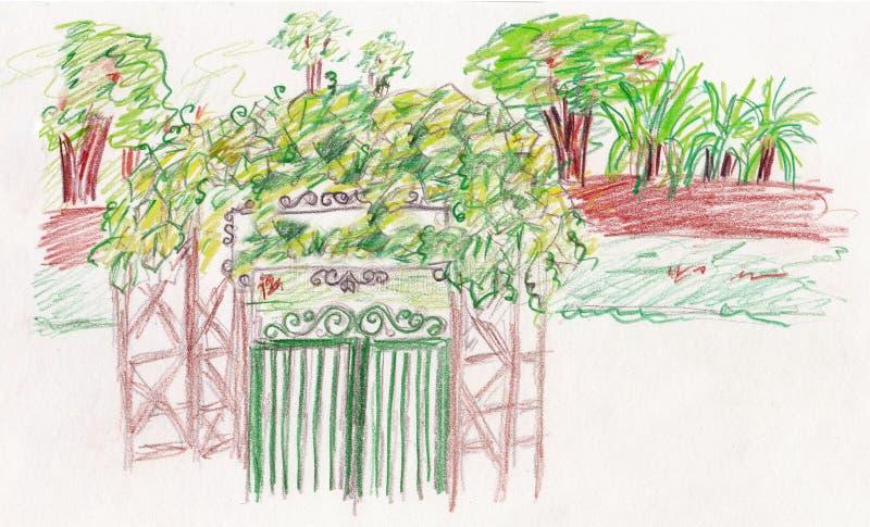 Puerta verde del jardín stock de ilustración