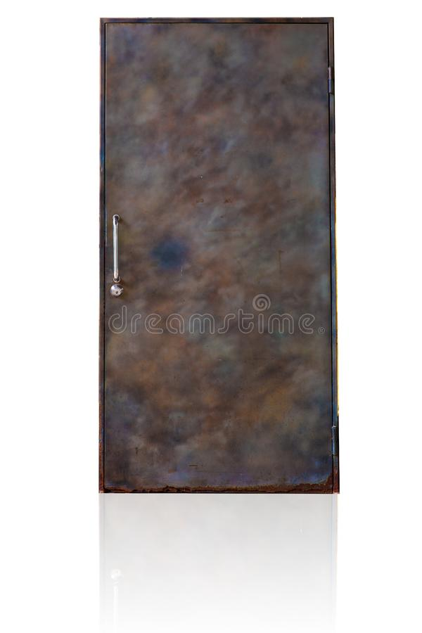 Puerta vieja de acero del metal cerrada foto de archivo libre de regalías