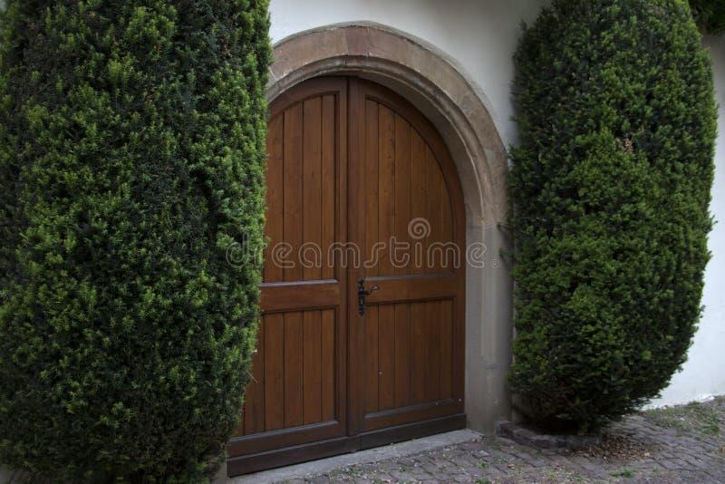 Puerta y arbustos marrones grandes imágenes de archivo libres de regalías