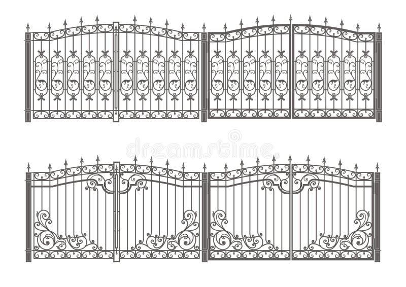 Puerta y cerca forjadas stock de ilustración
