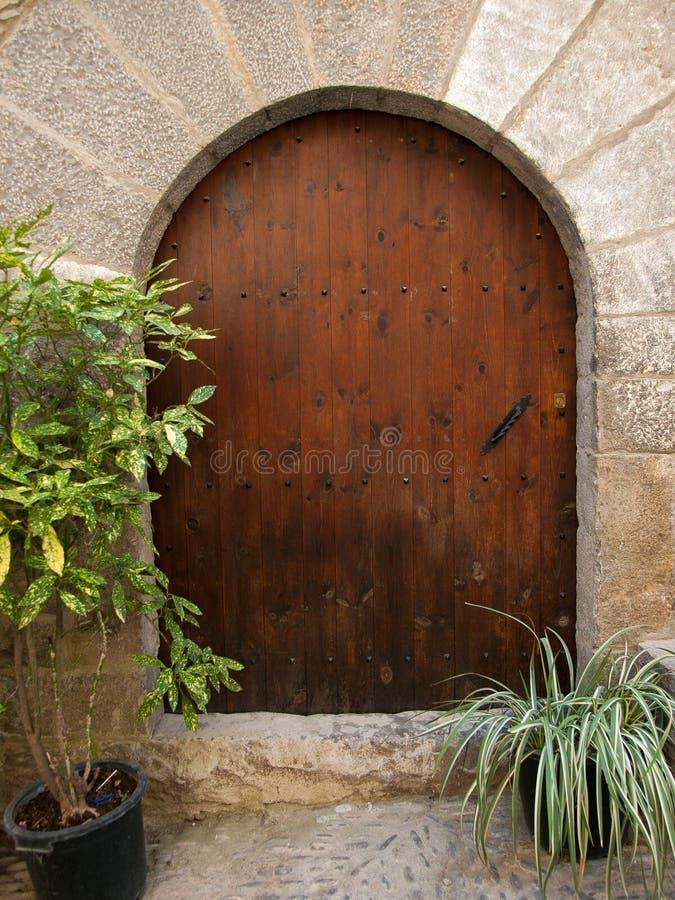 Puerta y plantas de madera viejas del arco imagen de archivo libre de regalías