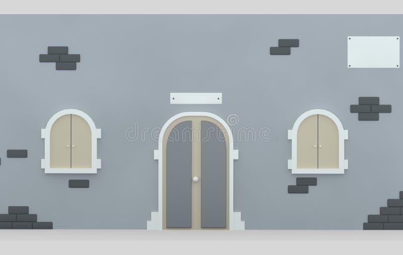 Puerta y Windows de la fachada illustratiion 3d ilustración del vector