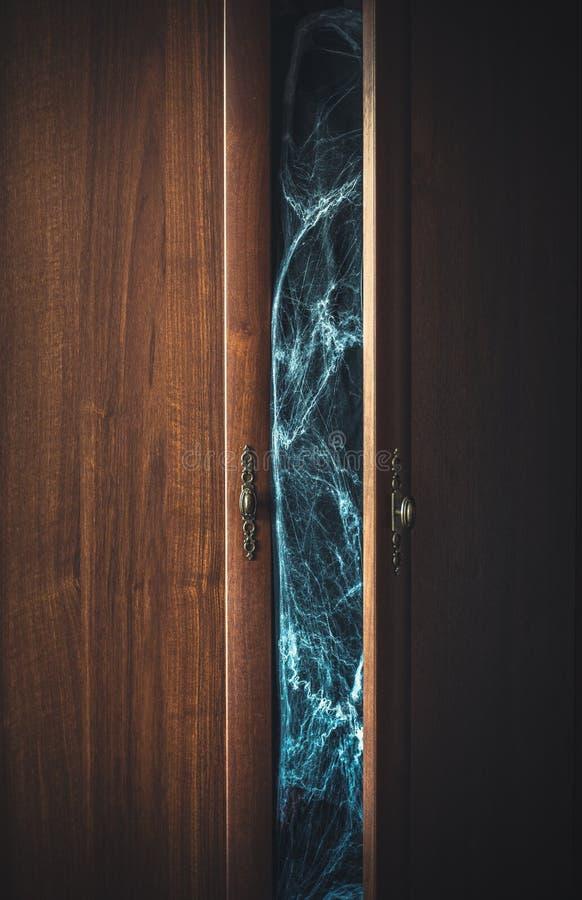 Puertas abiertas de un guardarropa y de un spiderweb espeluznante dentro imagen de archivo libre de regalías