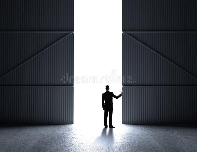 Puertas abiertas del hombre de negocios stock de ilustración