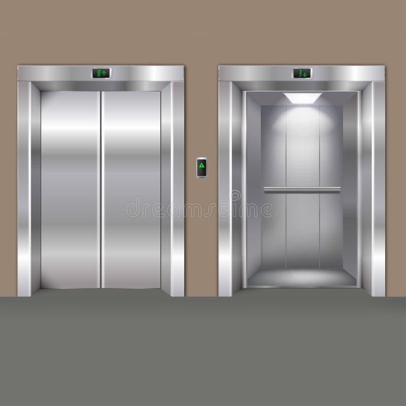 Puertas abiertas y cerradas del elevador foto de archivo