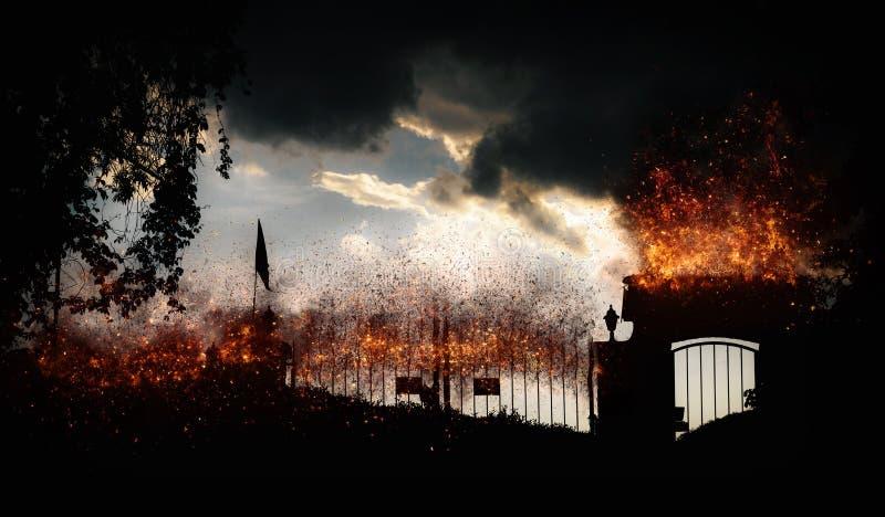 Puertas al diablo con el fuego - manipulación digital fotos de archivo libres de regalías