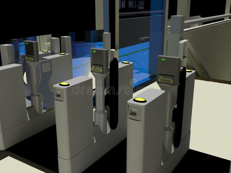 Puertas automáticas del boleto ilustración del vector