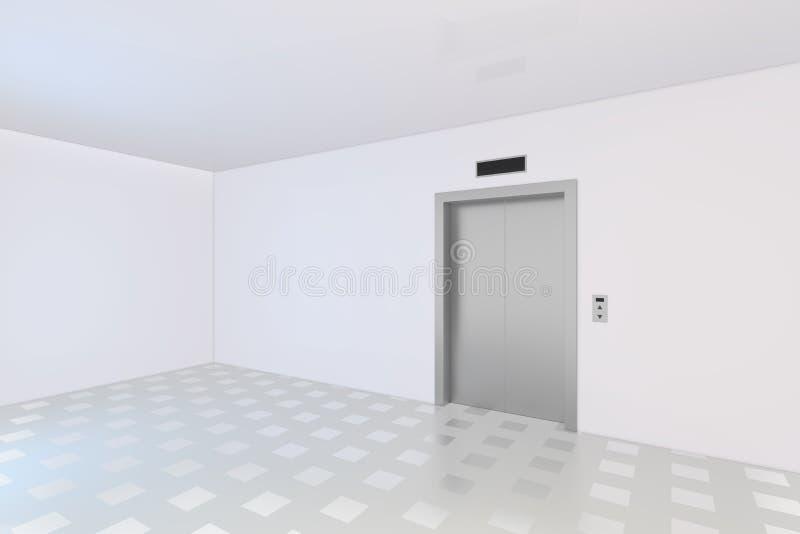 Puertas cerradas del elevador del edificio de oficinas del metal del cromo fotografía de archivo libre de regalías