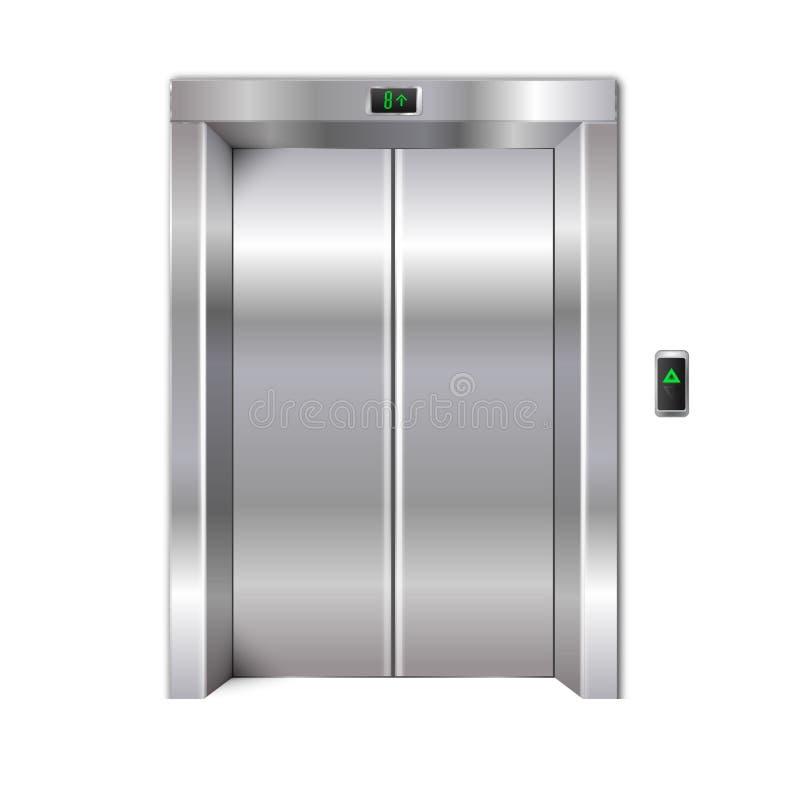 Puertas cerradas del elevador del metal del cromo fotografía de archivo