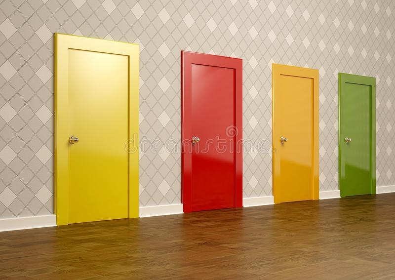 Puertas coloreadas en un cuarto que representa el concepto de opción stock de ilustración