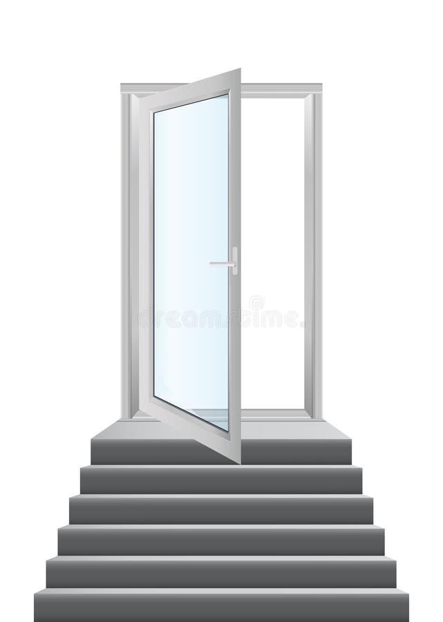 Puertas con las escaleras stock de ilustración